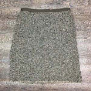 J. Crew Wool Tweed Pencil Skirt 14 Green Brown